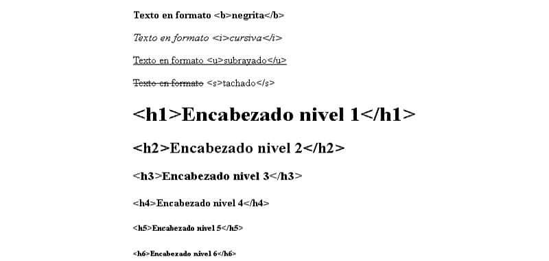 Efectos simples HTML - Tags b, i, u, s, h1 - h6, sub, sup, pre y blockquote