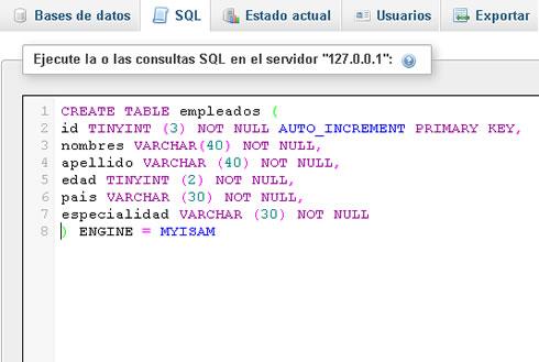 Llevando datos de la base mysql a las p ginas php - Sql create table auto increment ...